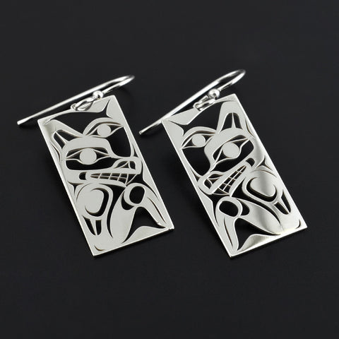 Wolf and Moon - Silver Earrings