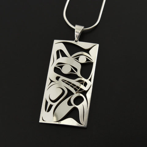 Wolf and Moon - Silver Pendant