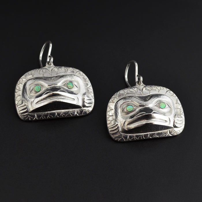 Frogs - Repoussé Silver Earrings