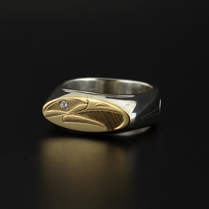 Eagle - Silver Ring with 14k Gold and Sapphire