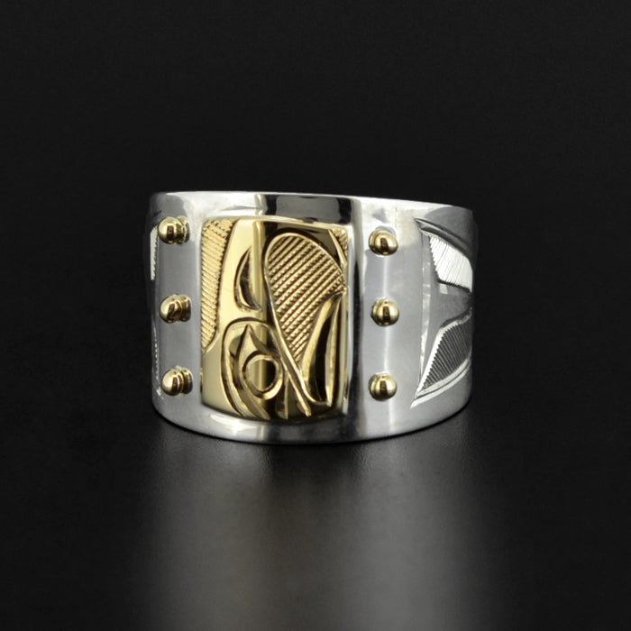 Eagle - Silver Ring with 14k Gold