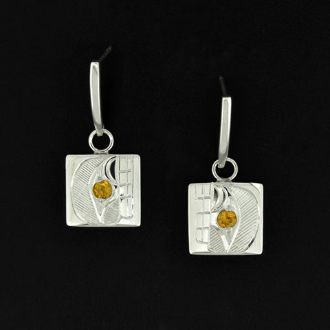 Orca - Silver Earrings with 14k Gold and Citrine