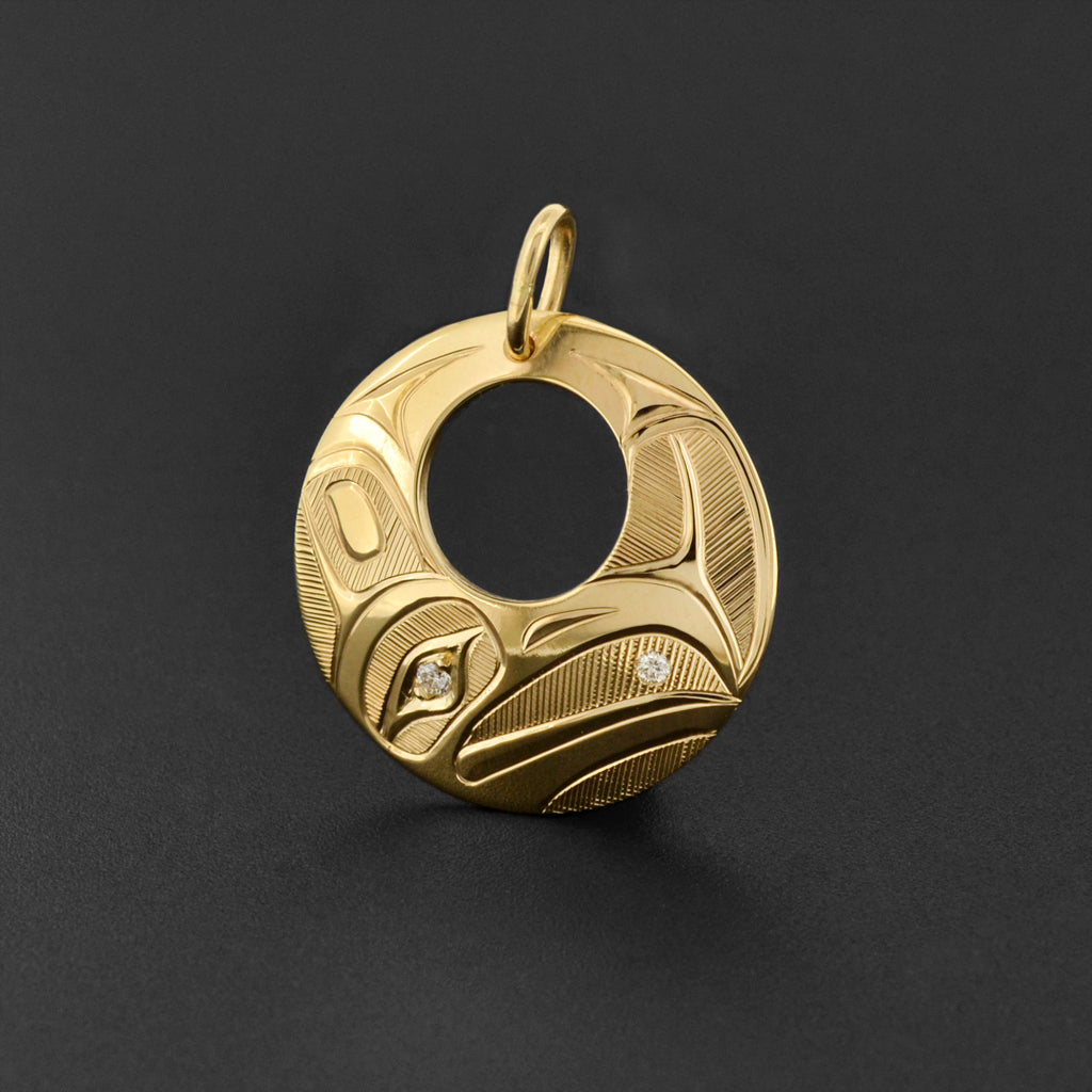 Raven and Light - 14k Gold Pendant with Diamonds