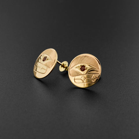 Killerwhale - 14k Gold Stud Earrings with Garnet