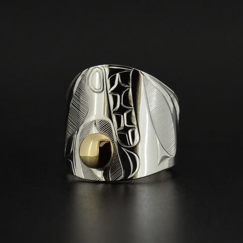 Bear - Silver Ring with 14k Gold