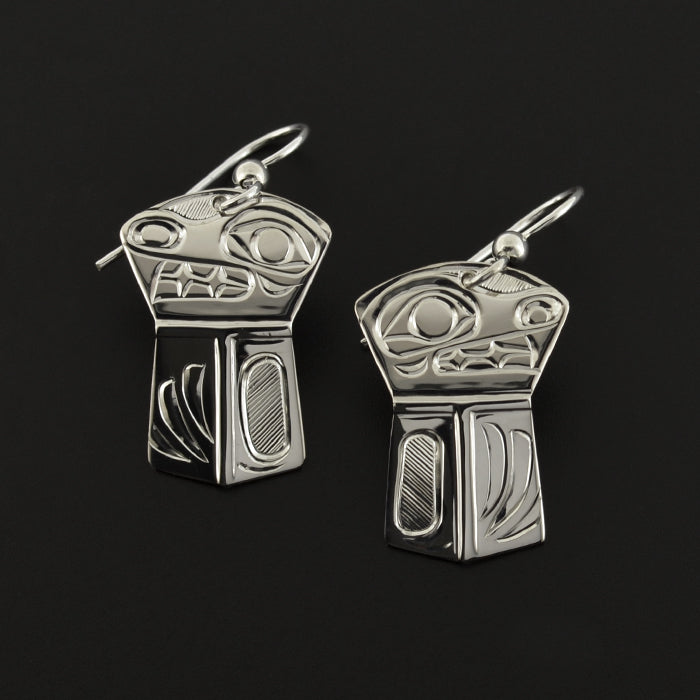 Bear Shield - Silver Earrings