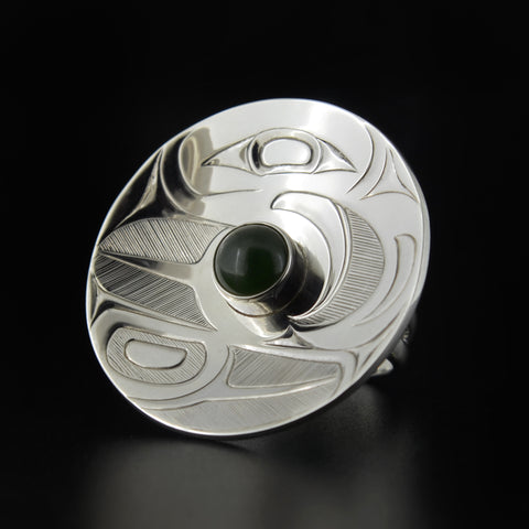 Eagle - Silver Ring with BC Jade