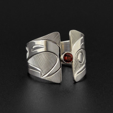 Raven and Eagle - Silver Ring with Garnet