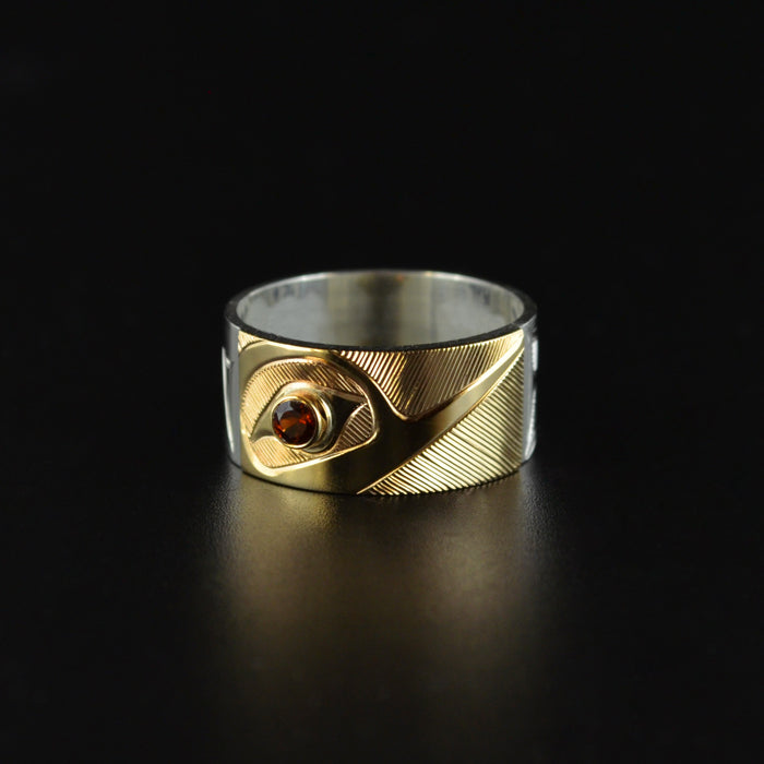 Hummingbird - Silver Ring with 14k Gold and Garnet