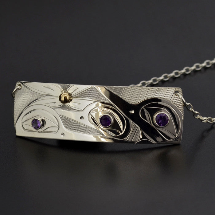 Hummingbirds - Silver Necklace with Amethyst and 14k Gold