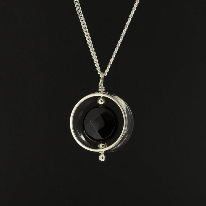 Hummingbird - Silver Pendant with Black Onyx
