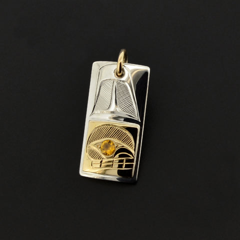 Orca - Silver Pendant with 14k Gold and Citrine