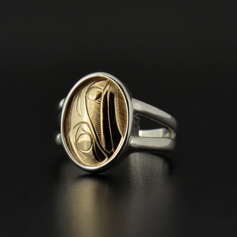 Raven and the Light - Silver Ring with 14k Gold