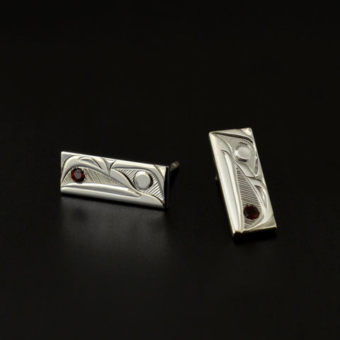 Raven and the Light - Silver Stud Earrings with Garnets