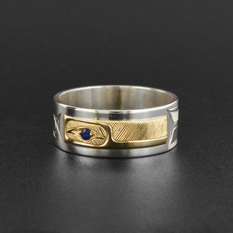 Hummingbird - Silver Ring with 14k Gold and Sapphire