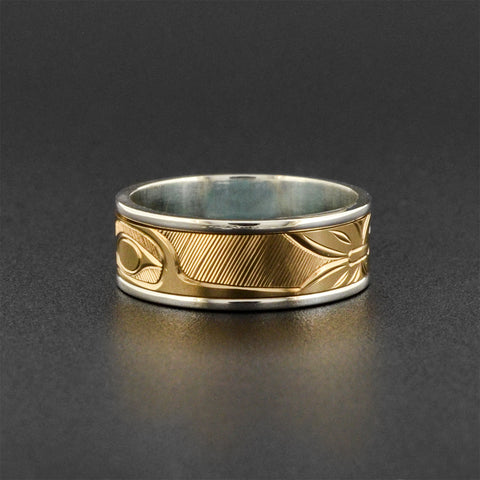 Hummingbird - Silver with 14k Gold Spin Ring