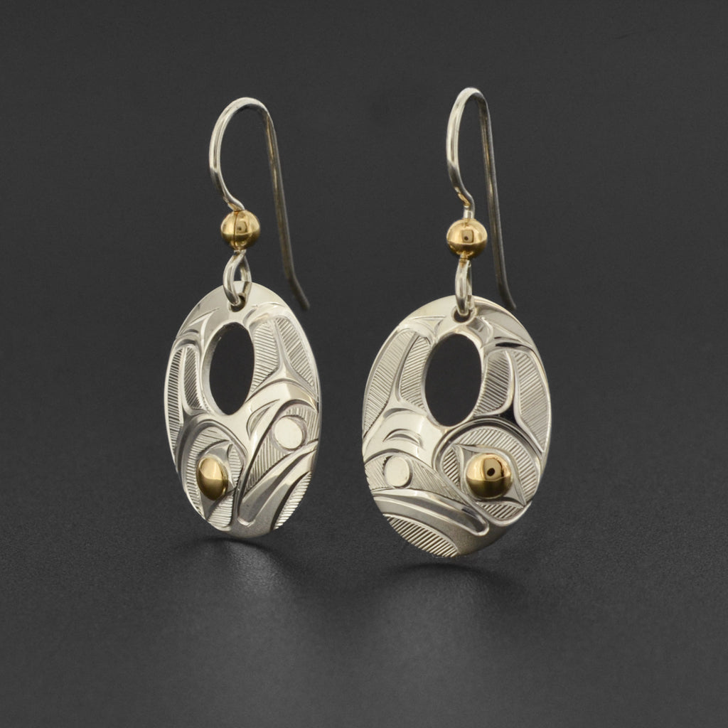 Raven and Light - Silver Earrings with 14k Gold