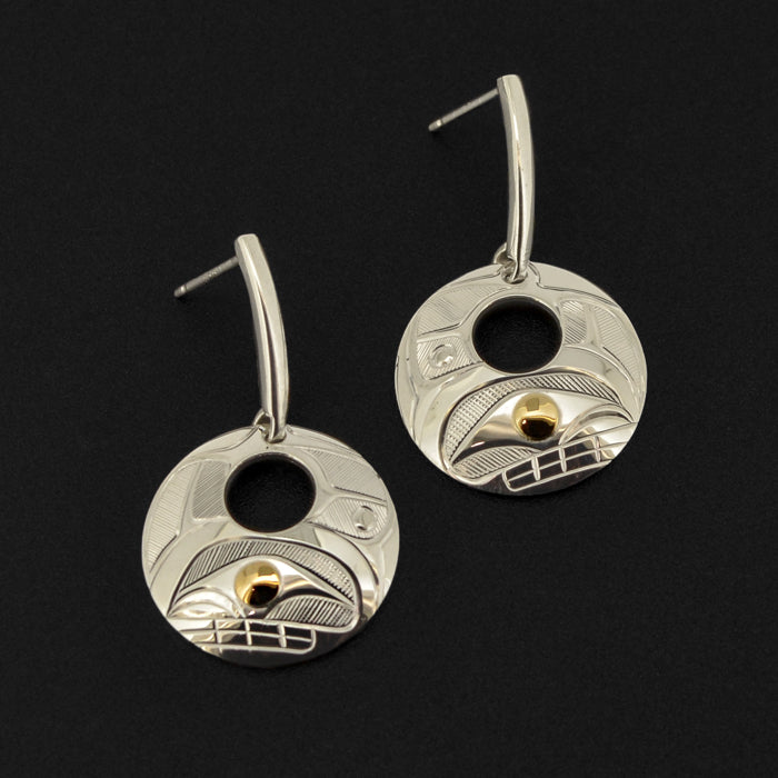 Killerwhale - Silver Earrings with 14k Gold