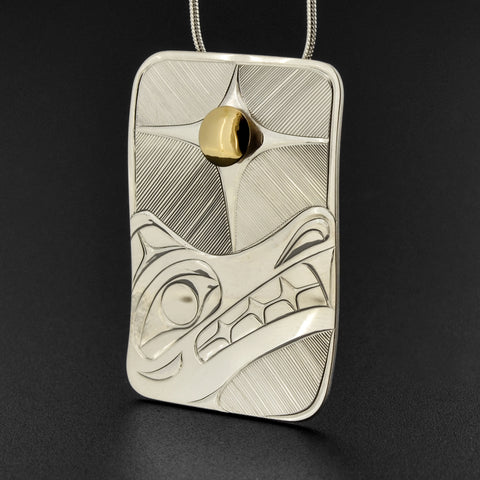 Wolf - Silver Pendant with 14k Gold