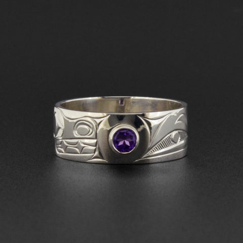 Bear and Raven - Silver Ring with Amethyst