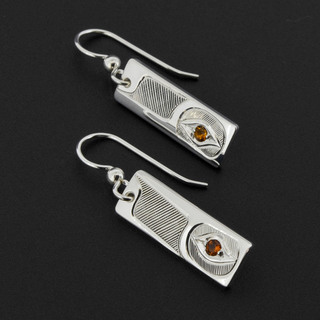 Hummingbird - Silver Earrings with Citrine