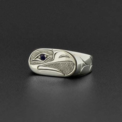 Eagle - Silver Ring with Saphire