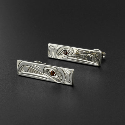 Raven and Light - Silver Stud Earrings with Garnet