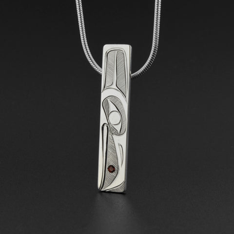 Raven and Light - Silver Pendant with Garnet