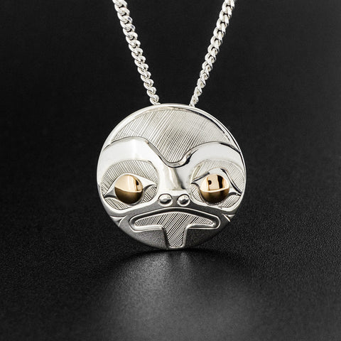 Frog - Silver Pendant with 14k Gold
