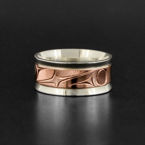 Abstract - Silver Ring with 14k Rose Gold