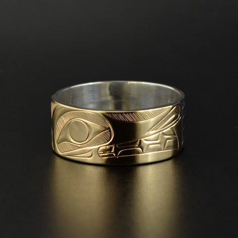 Wolf - Silver Ring with 14k Gold Overlay