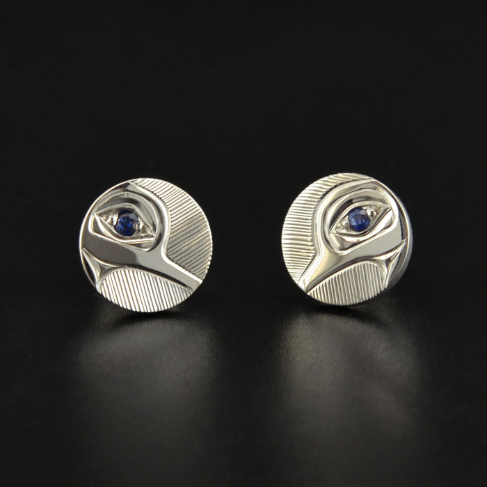 Hummingbird - Silver Studs with Sapphires