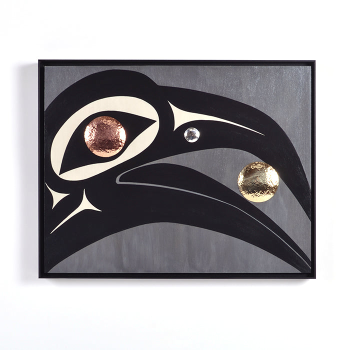 Raven and the Light - Acrylic on Wood Panel with Mixed Metals