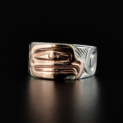 Eagle - Silver Ring with 14k Rose Gold