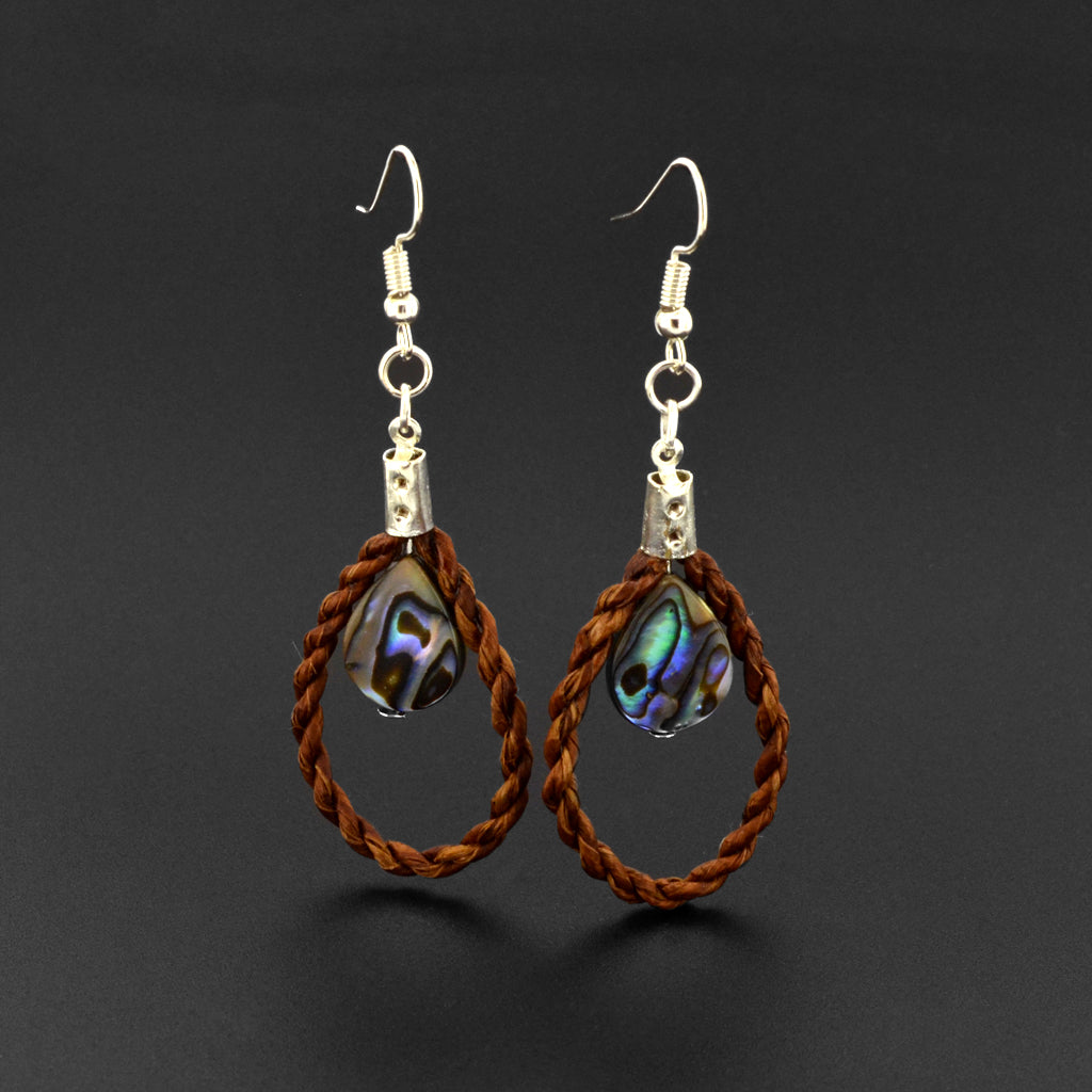 Bilaa Drops - Silver Earrings with Cedar and Abalone
