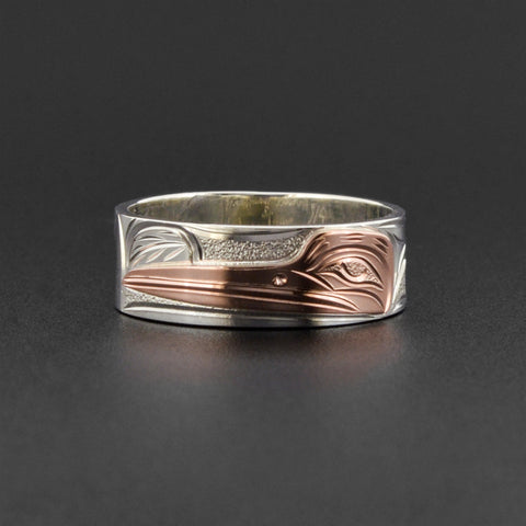 Hummingbird - Silver Ring with 14k Rose Gold