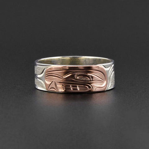 Orca - Silver Ring with 14k Rose Gold