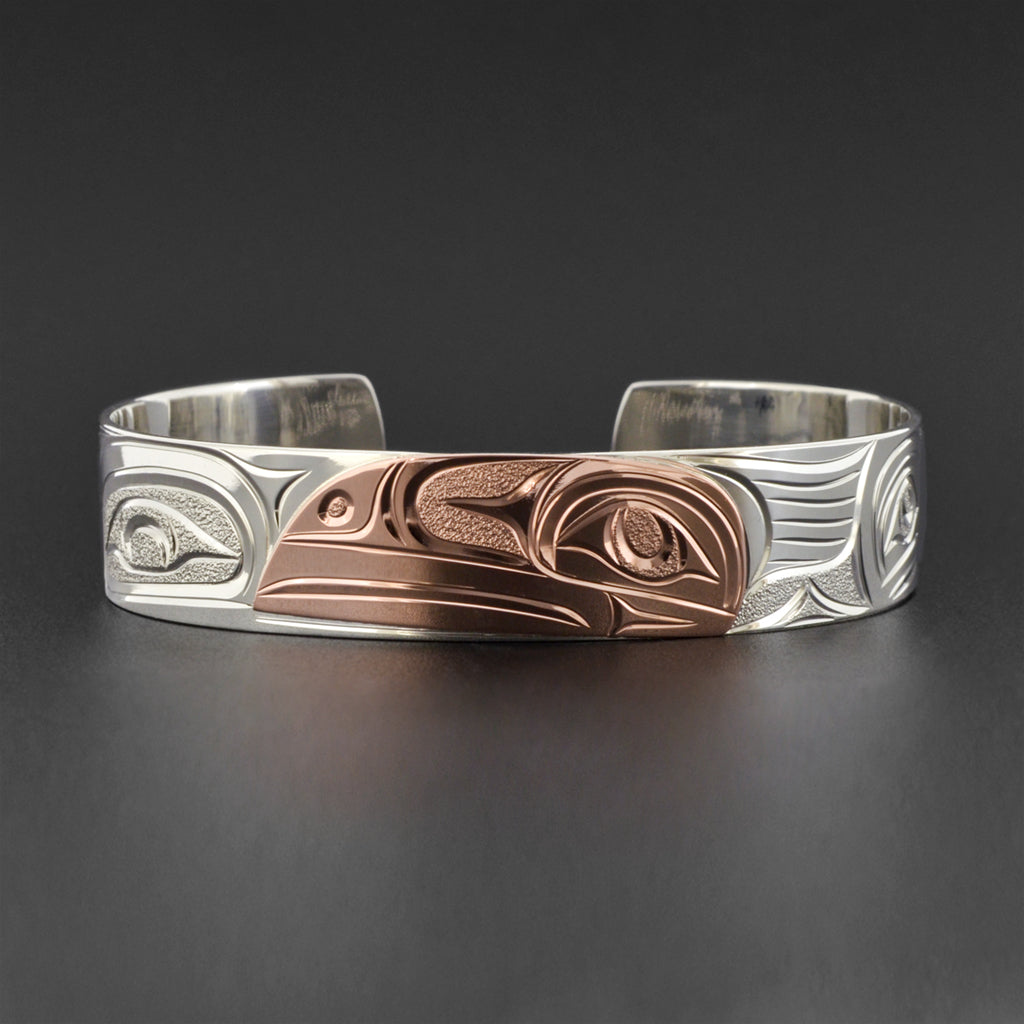 Raven - Silver Bracelet with 14k Rose Gold