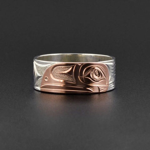 Raven - Silver Ring with 14k Rose Gold