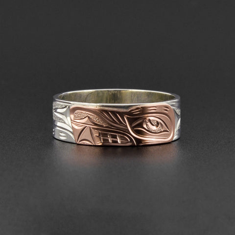 Wolf - Silver Ring with 14k Rose Gold