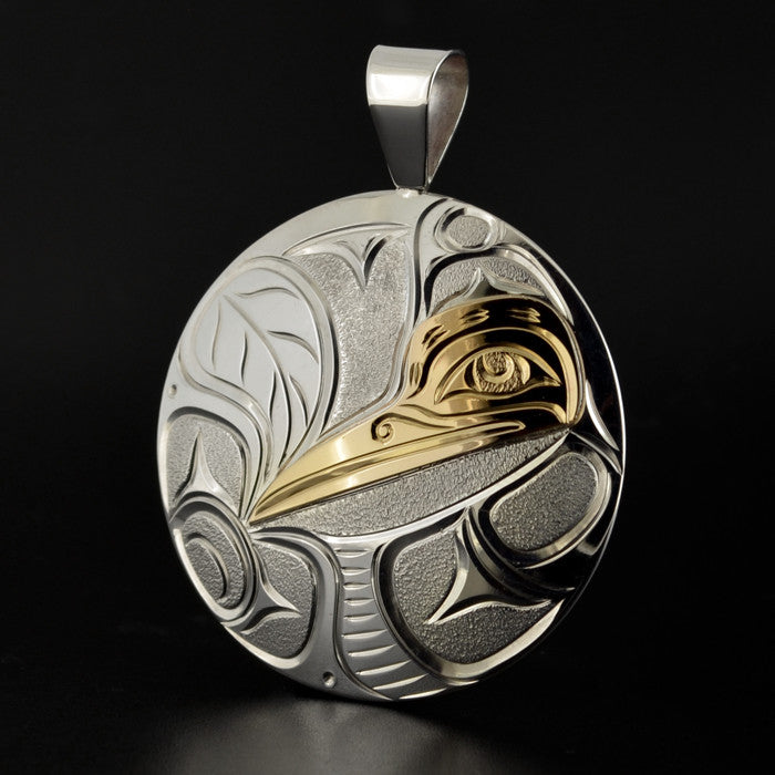 Hummingbird - Silver Pendant with 14k Gold