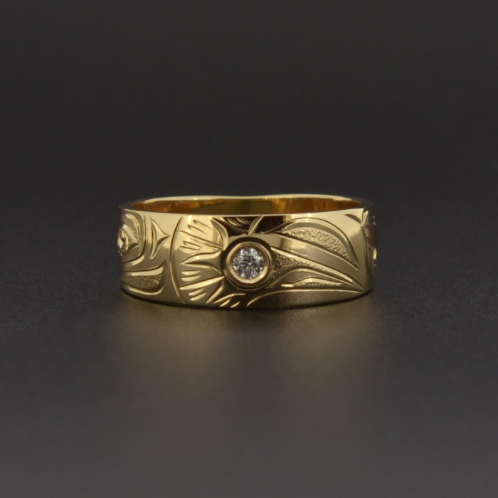 Raven and the Light - 14k Gold Ring with Diamond