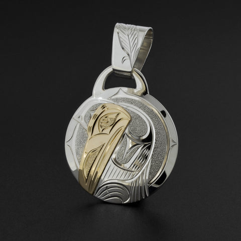 Raven - Silver Pendant with 14k