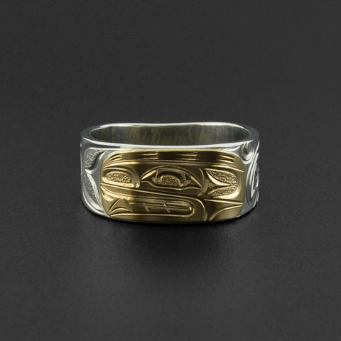 Orca - Silver Ring with 14k Gold