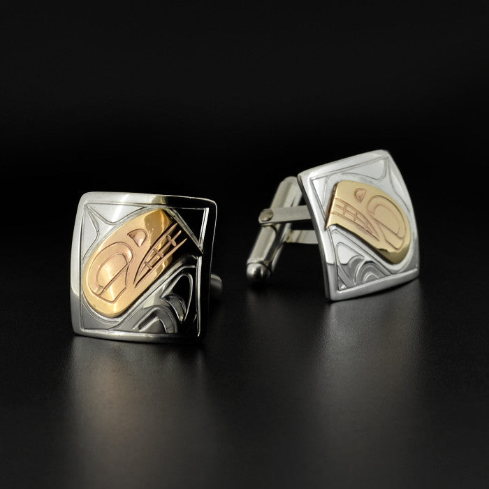 Killerwhale - Silver and 14k Gold Cufflinks