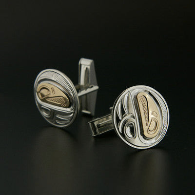 Eagle - Silver and 14k Gold Cufflinks