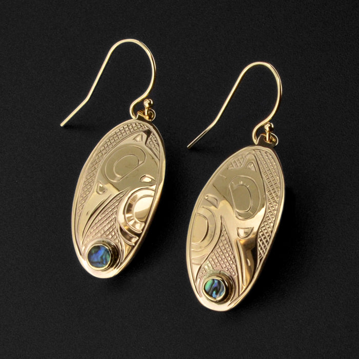 Raven - 14k Gold Earrings with Abalone