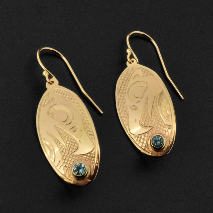 Eagle - 14k Gold Earrings with Topaz