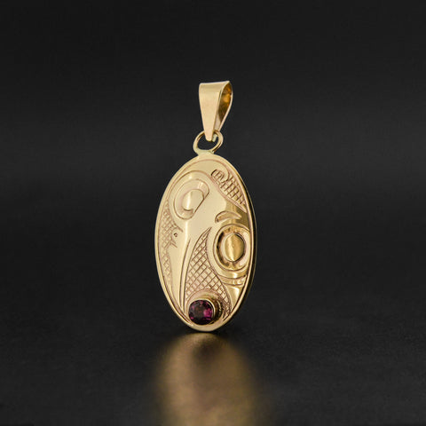 Hummingbird - 14k Gold Pendant with Garnet