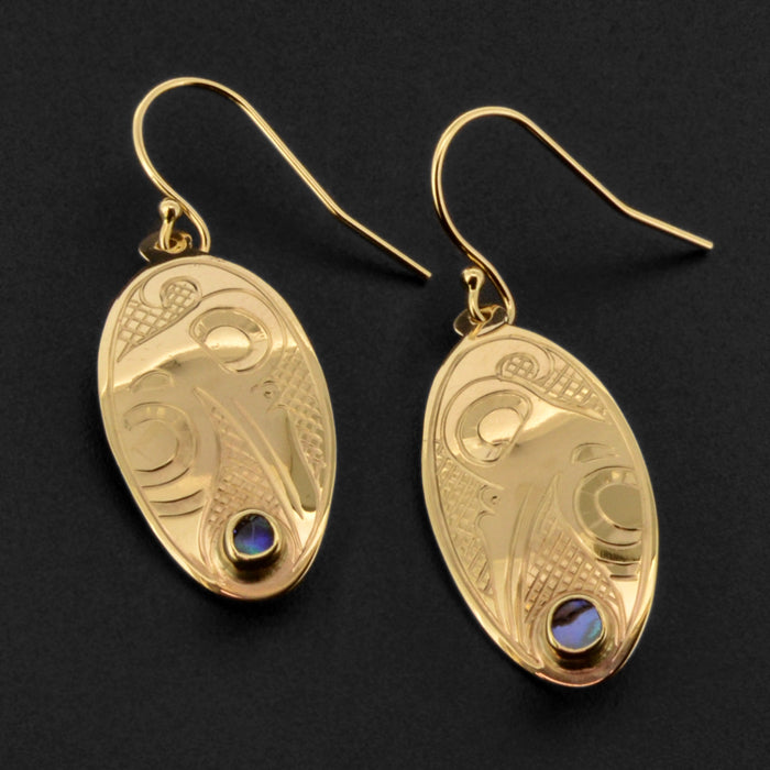 Hummingbird - 14k Gold Earrings with Abalone